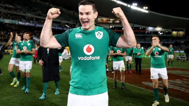 SYDNEY, AUSTRALIA - JUNE 23: Johnny Sexton of Ireland celebrates winning the Third International Test match between the Australian Wallabies and Ireland at Allianz Stadium on June 23, 2018 in Sydney, Australia. (Photo by Cameron Spencer/Getty Images)
