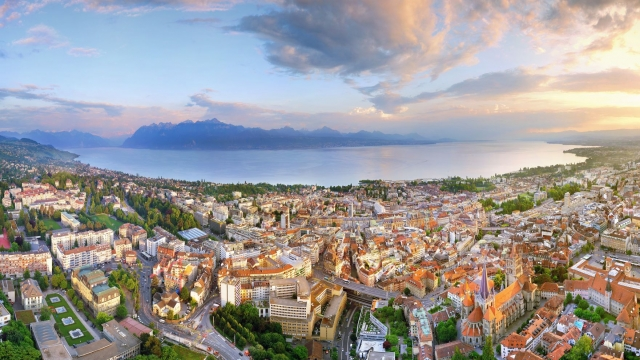 The rooftops and lakeside of Lausanne