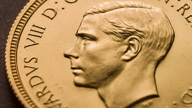 The rare Edward VIII Sovereign coin, featuring the Queen's uncle before he abdicated