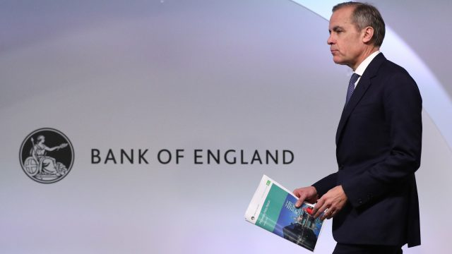 Article thumbnail: Outgoing Bank of England governor Mark Carney revealed a sharp downgrade to UK growth forecasts just a day ahead of Brexit (Photo: Jonathan Brady/WPA Pool/Getty Images)