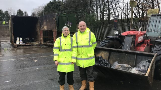 Two recycling workers, Kenny McAdam and Tony Scanlon,: West Dunbartonshire Council/PA Wire