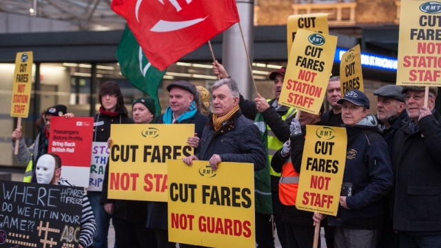 RMT protesters gather outside King's Cross. (Photo: RMT)