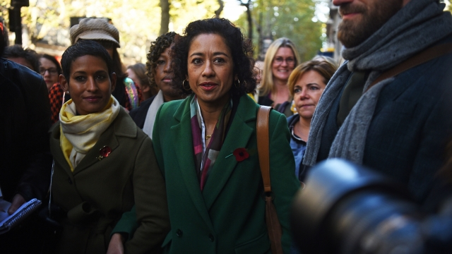 Broadcaster Samira Ahmed (centre) and Naga Munchetty (centre left) arrive at the Employment Tribunal