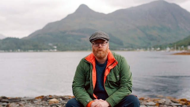 Frankie Boyle saying his monologue about life in Scotland on the banks of a loch in Glencoe