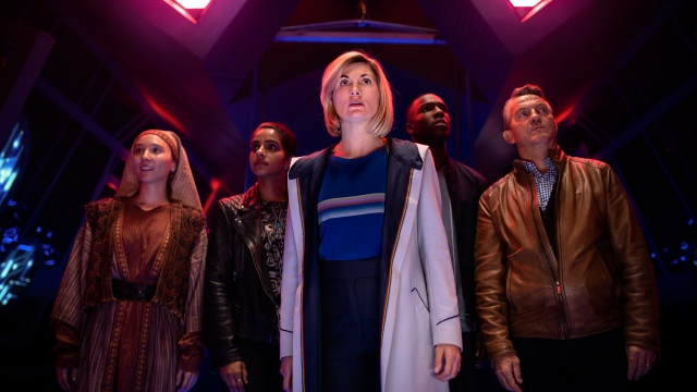 Tahira (ARUHAN GALIEVA), Yaz (MANDIP GILL), The Doctor (JODIE WHITTAKER), Ryan (TOSIN COLE), Graham (BRADLEY WALSH) Doctor Who series 12
