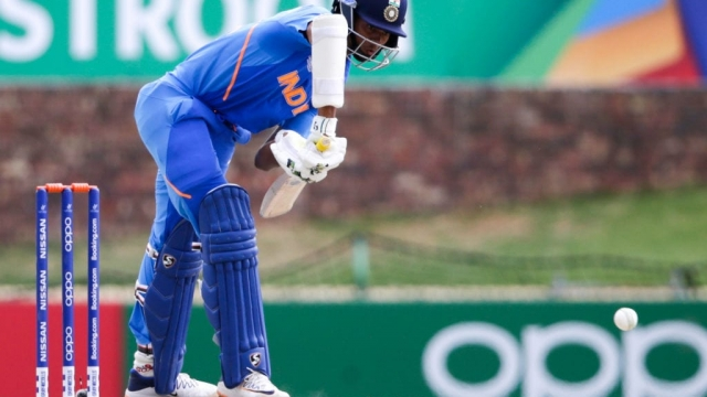 Indias batsman Yashasvi Jaiswal plays a shot during the ICC Under-19 World Cup cricket semi-final against Pakistan (AFP via Getty Images)