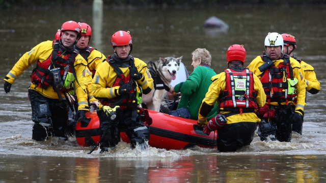 Scenes of flooding in Ponypridd in South Wales caused by Storm Dennis