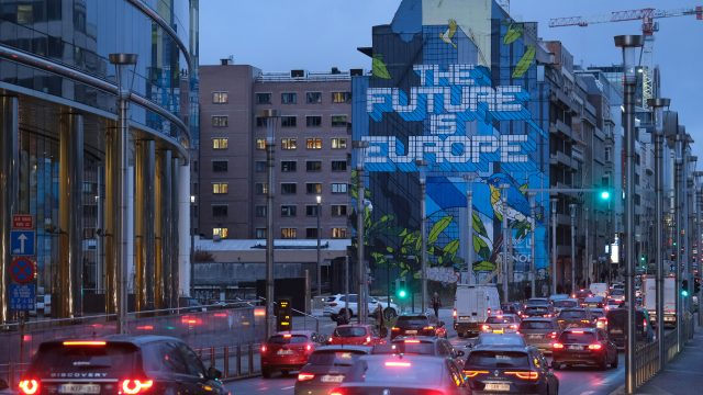 A mural in Brussels on the day the UK officially left the EU