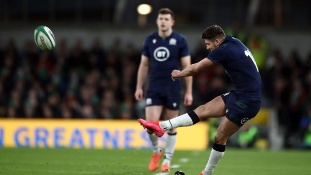 Adam Hastings of Scotland takes a kick in a strong performance against Ireland (Getty Images)
