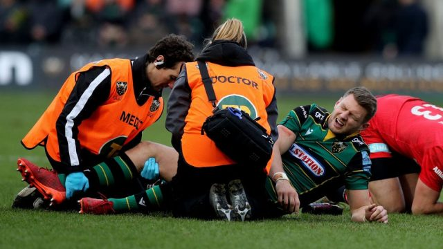 Article thumbnail: Wales fly-half Dan Biggar sustained an injury to his right knee while playing for Northampton Saints against Saracens (Getty Images)