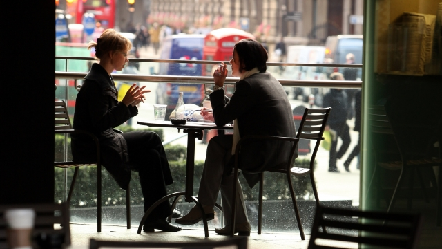 Article thumbnail: Two women chat during lunch in a cafe in the City of London