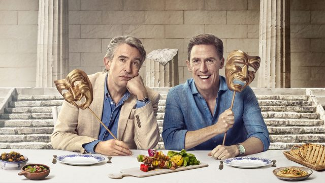 Article thumbnail: The Trip to Greece is the fourth (and final?) of director Michael Winterbottom's fauxverité travelogues, starring Steve Coogan (left) and Rob Brydon (Photo: Sky One)