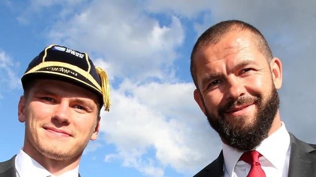 Owen and Andy Farrell at a welcoming ceremony before the 2015 Rugby World Cup