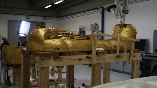 Tutankhamun's outermost coffin in one of the Grand Egyptian Museum's conservation rooms