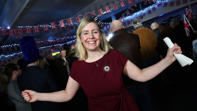 Article thumbnail: Conservative Party MP Andrea Jenkyns, a key member of the European Research Group, at a Brexit Celebration party