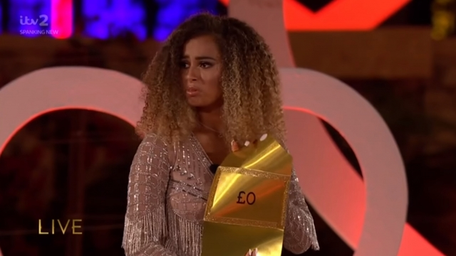 Amber Gill opened the envelope containing nothing after being crowned winner in last year's Love Island final