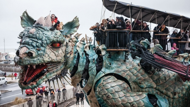 Calais' latest attraction is a jaw-dropping, fire-breathing, water-spitting robotic dragon that's 15 metres high and is 25 metres long