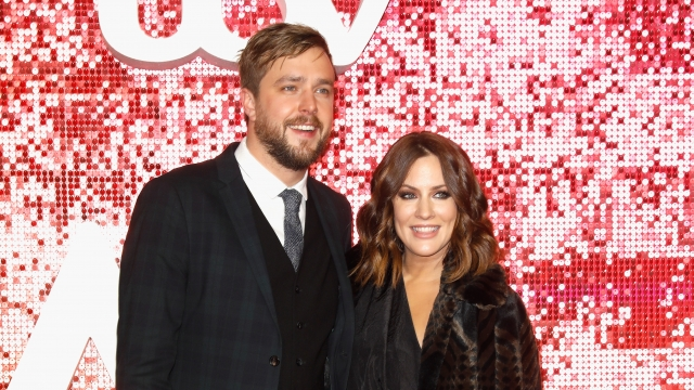 Iain Stirling and Caroline Flack arriving at the ITV Gala