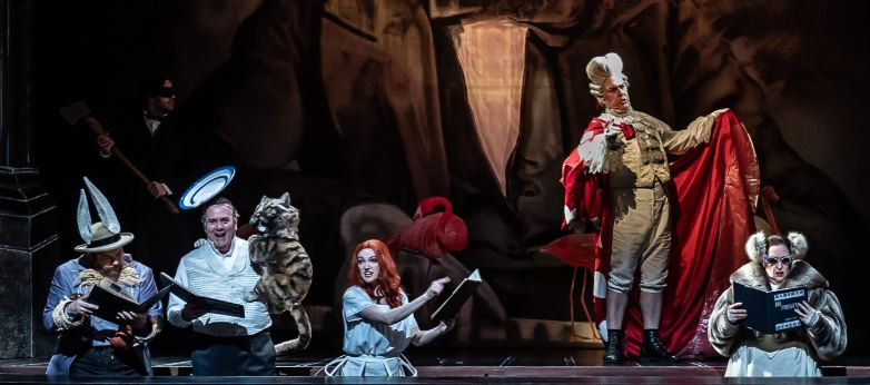 Alice's Adventures Under Ground by Gerald Barry; Royal Opera House, from left: March Hare - Robert Murray; White Knight/Cheshire Cat - Stephen Richardson; Alice - Jennifer France; Red Knight - Alan Ewing; Dormouse - Carole Wilson (Photo: Clive Barda)