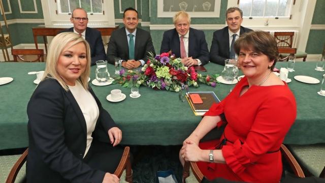 Arlene Foster and Michelle O'Neill at talks with Ireland's Leo Varadkar and Simon Coveney as well as Boris Johnson and former Northern Ireland Secretary Julian Smith.