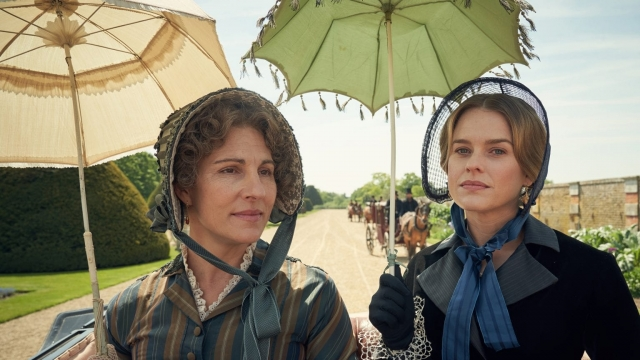 Article thumbnail: Tamsin Greig and Alice Eve as Anne and Susan Trenchard in Belgravia