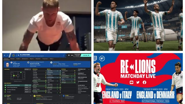 Article thumbnail: From challenges, to video games with a twist to reruns of classic matches, there are loads of ways to stay connected to your five a side team (Twitter/Ben Stokes/Football Manager/Fifa 20/England)