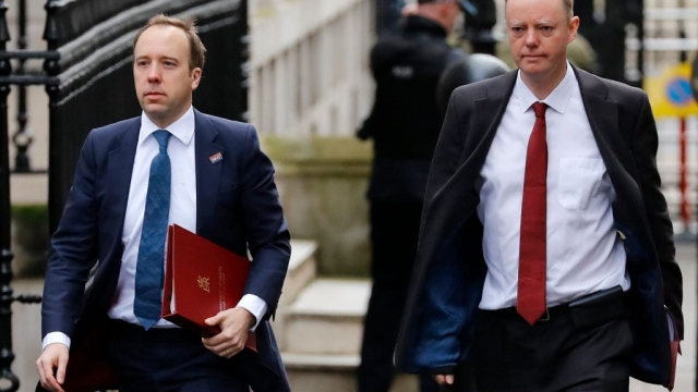 Health Secretary Matt Hancock and Chief Medical Officer for England, Chris Whitty, arrive at Downing Street ahead of an emergency COBRA meeting into UK's developing coronavirus COVID-19 situation.