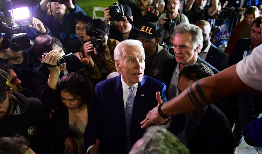 Former Vice President Joe Biden greets supporters as he leaves a Super Tuesday event in Los Angeles (Photo: Getty)