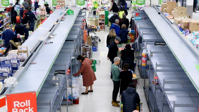 Shoppers are faced with partially empty shelves at a supermarket in London on March 14, 2020, as consumers worry about product shortages, leading to the stockpiling of household products due to the outbreak of the novel coronavirus COVID-19. - British Prime Minister Boris Johnson, who has faced criticism for his country's light touch approach to tackling the coronavirus outbreak (Photo: JUSTIN TALLIS/AFP via Getty Images)