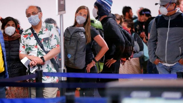 Travellers await for their flights out of Peru (photo: AFP / Getty)