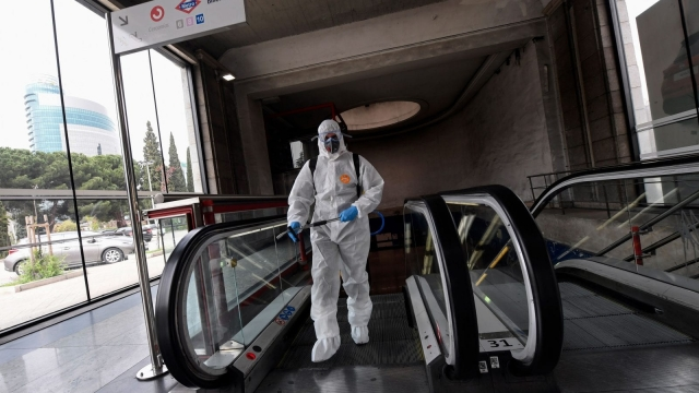 Police in Spain have requisitioned some 69,000 surgical masks and more than 5,000 protective goggles and gloves to be transferred to healthworkers. Meanwhile the clean-up goes on amid lockdown