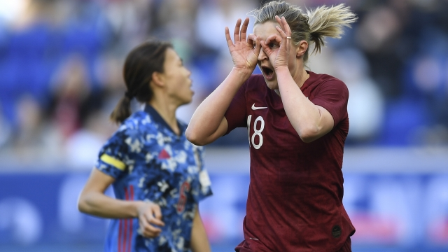 Ellen White celebrates after scoring against Japan in the SheBelieves Cup