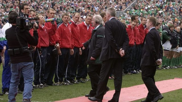 Captain Matrin Johnson of England is asked to move his team. You can guess what the response is. (Getty Images)