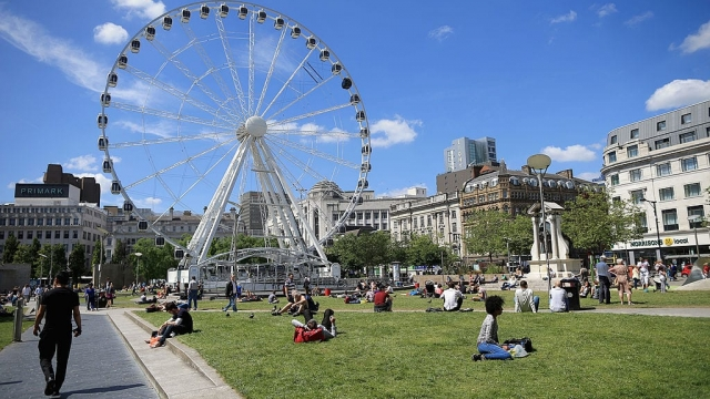 """Article thumbnail: MANCHESTER, ENGLAND - JUNE 23: A general view of Piccadilly Gardens in the City of Manchester, on June 23, 2014 in Manchester, England. Chancellor George Osborne announced today the possibility of HS3 high-speed rail link between Manchester and Leeds that would help build a """"northern global powerhouse"""" linking cities in the North of England. (Photo by Christopher Furlong/Getty Images)"""