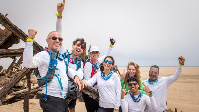 Article thumbnail: On Day 4 of the Sport Relief challenge: The Heat is On, the team reach the Eduard Bohlen (Photo: Sport Relief)
