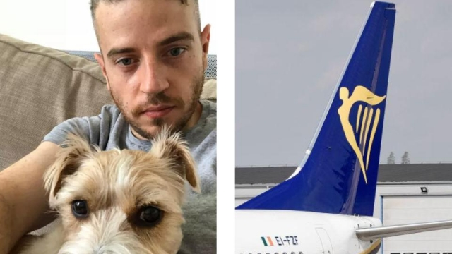 Article thumbnail: Customers including James Tagg report not being able to get their refund back via the Ryanair website (Photos: Left, James Tagg, and right, Stina Stjernkvist/AFP via Getty Images)