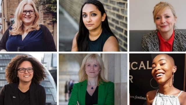 Top left to bottom right: Dr Amy Kavanagh, Poorna Bell, Tracy Brabin, Mandu Reid, Rosie Duffield, Africa Brooke