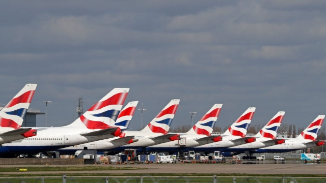 Grounded British Airways planes at Heathrow airport (Photo by Adrian Dennis/AFP via Getty Images)