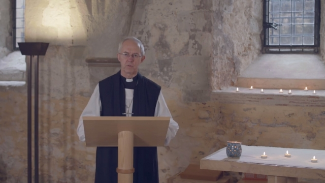 The Archbishop of Canterbury hosted a sermon from an empty room
