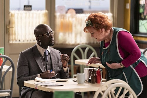 Jimmy Akingbola and Brenda Blethyn in Kate & Koji: Ep1 on ITV (Photo: Hat Trick Productions)