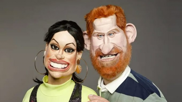 The Duke and Duchess of Sussex in puppet form for the new series of Spitting Image