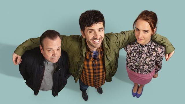 Shaun Williamson (left), Spencer Jones and Lucy Pearman in 'Mister Winner' (Photo: BBC)