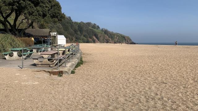 Blackpool Sands in Devon was deserted