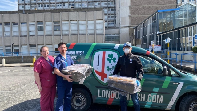 London Irish Rugby Club deliver food to NHS Hospitals and Palliative Care Homes