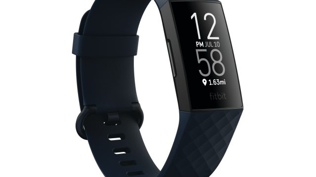 Article thumbnail: Product render of Fitbit Charge 4, 3QTR view, in Storm Blue and Black.