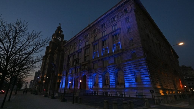 Liverpool's Cunard Building is lit up by blue lights as a sign of admiration for the NHS staff on the frontline of the coronavirus pandemic