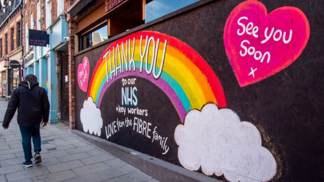 A sign thanking the NHS on a closed shop front in Leeds city centre