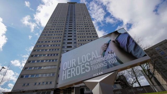 A giant billboard thanks NHS worklers in Birmingham city centre during the nationwide lockdown