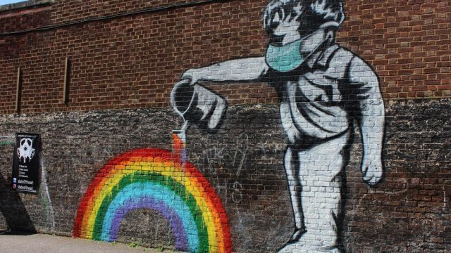 A view of the 100th 'Rainbow Boy' artwork created by street artist Chris Shea at The Swan public house in West Wickham. The UK is still under lockdown