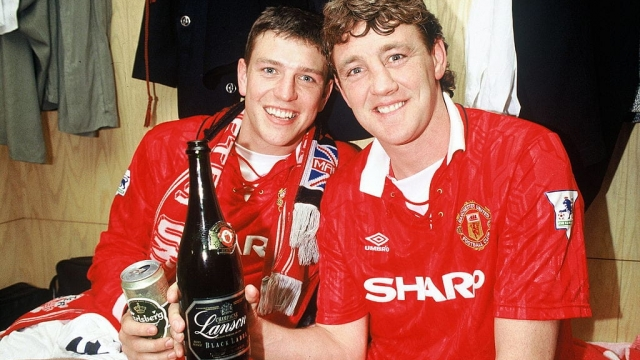 Manchester United stars Steve Bruce and Lee Sharpe